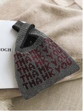 Glitter Tiny Rhinestone Letter Design Women Handbags