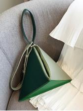 Fashion Color Block Folding Geometry Shoulder Bag