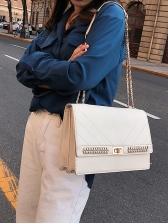 Rectangle Design Twist Lock Chain Shoulder Bag