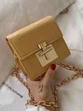 Stone Grain Metal Buckle Golden Chain Shoulder Bag