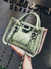 Stitches Rhombus Transparent 2 Piece Shoulder Bag