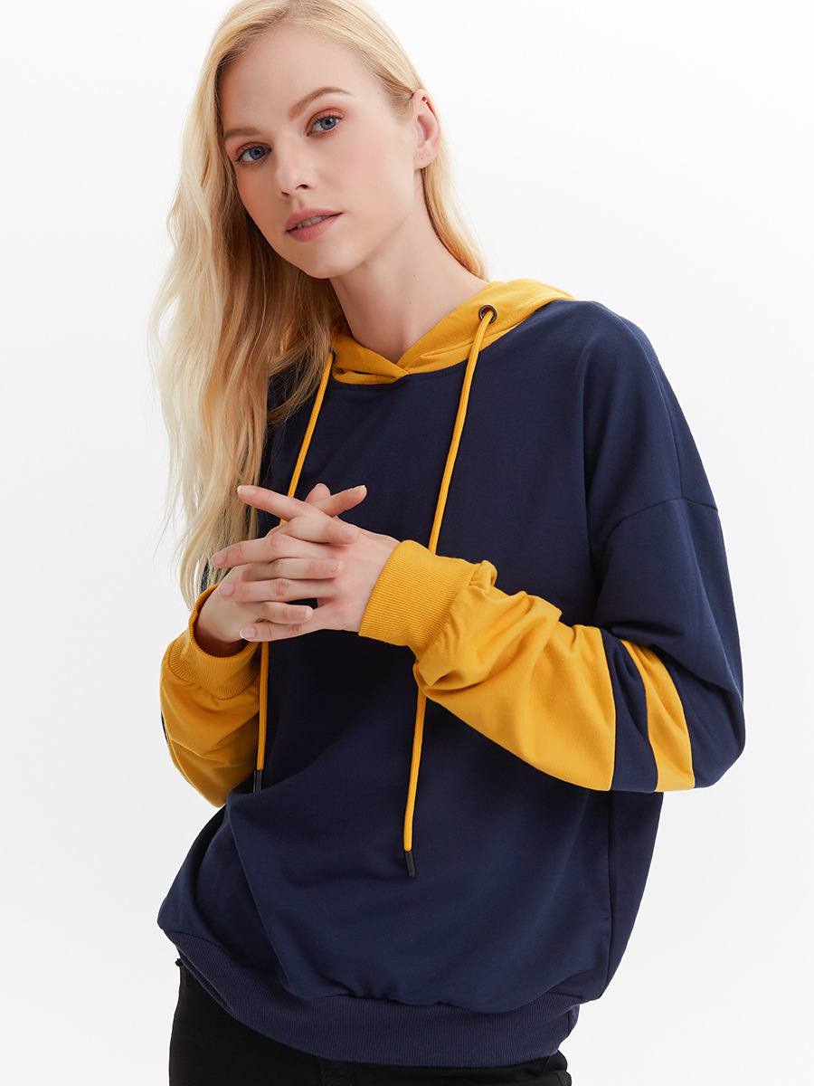 Daily Contrast Color Loose Women Pullover Hoodies