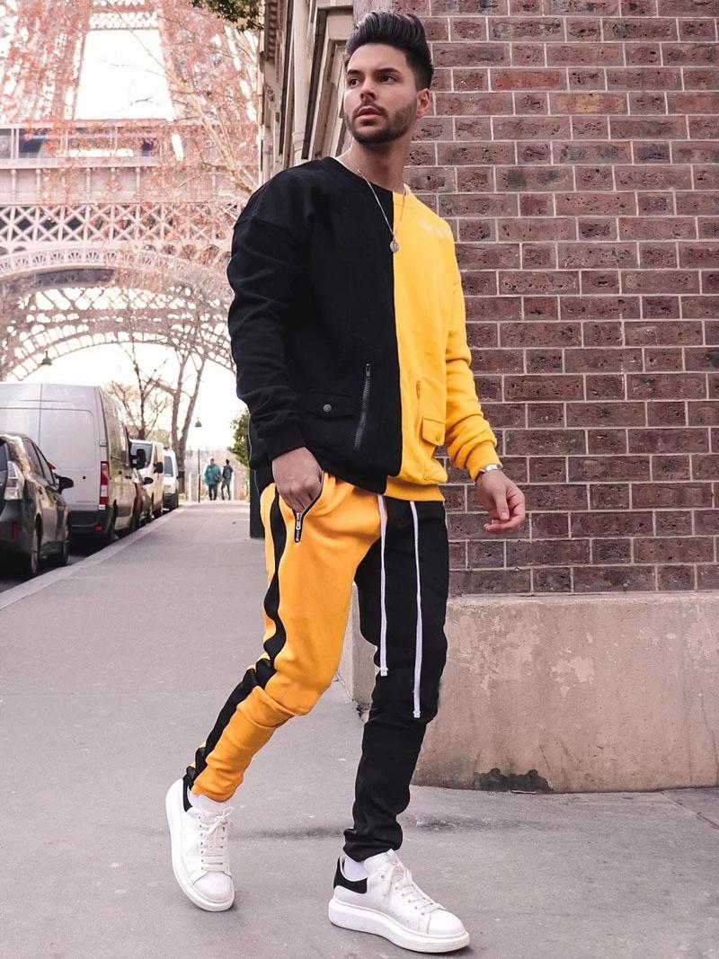Hip Pop Long Sleeve Contrast Color Mens Activewear
