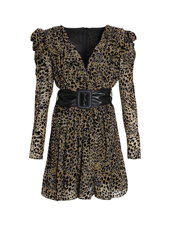 Boutique Puff Sleeve Leopard Print Ladies Dress