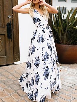 Bohemian Flower Printed Sleeveless Maxi Dresses