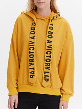 Versatile Letter Ribbon Yellow Hoodies For Women