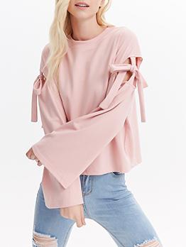 Sweet Style Bowknot Flare Sleeve Blush T Shirt