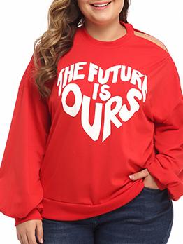 Hollow Out Shoulder Letter Printed Plus Size Sweatshirt