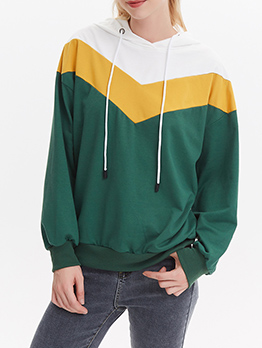 Casual Stitching Color Loose Hoodies For Women
