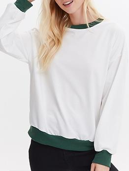Simple Style Color Patchwork Long Sleeve Sweatshirt