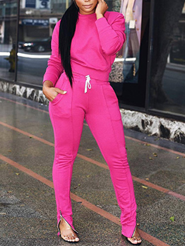 Sporty Bright Color Mock Neck 2 Piece Pants Set