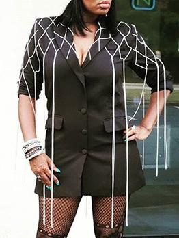 Chic Diamond Tassel Single Breasted Ladies Blazer