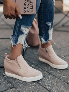 Embossed Solid Zipper Up Wedge Sneakers