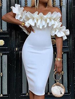 Off Shoulder Shirring Lacework Bodycon Dress
