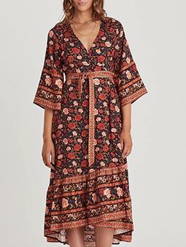 Bohemia Style V Neck Floral Wrap Maxi Dress