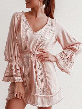 V Neck Lace Patchwork Flare Sleeve Pink Dress