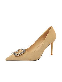 Rhinestone G Metal Splicing Stiletto Heels