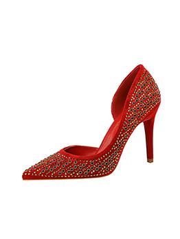 Suede Rhinestone High Heel Shoes