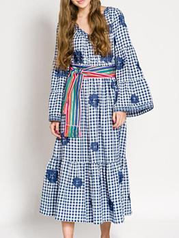 V Neck Embroidery Loose Long Sleeve Maxi Dress