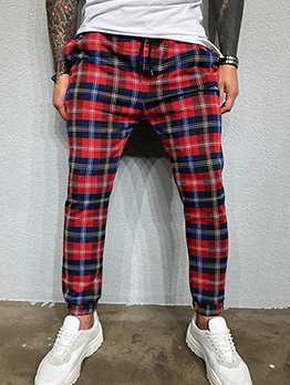Leisure Straight Men 3D Plaid Pants