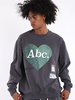 Letter Long Sleeve Crewneck Sweatshirt