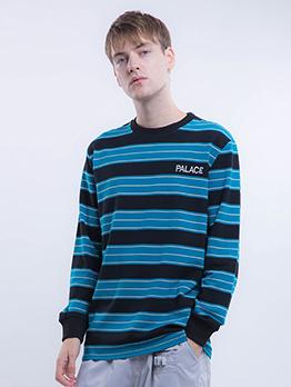 Striped Long Sleeve Loose Crewneck Sweatshirt