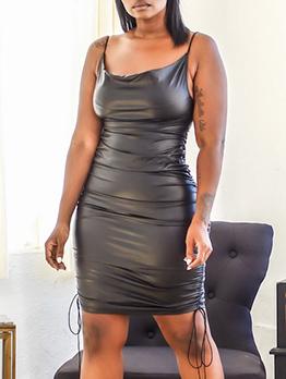 U Neck Pu Sleeveless Bodycon Dress