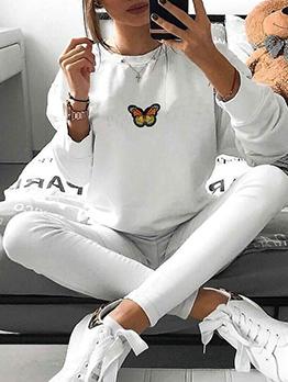 Butterfly Embroidery Long Sleeve Sweatshirts For Women