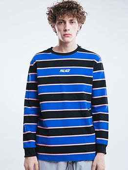 Contrast Color Striped Men Crew Neck Sweatshirt