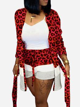 Fashion Long Sleeve Leopard Print Co Ord