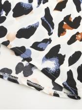 Lantern Sleeve Tie Front Leopard Printed Blouse