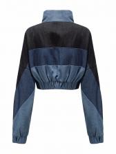 Contrast Color Cropped Slim Waist Denim Jacket