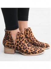 Printed V Split Chunky Heel Booties For Women