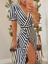 Striped Deep v Split Short Sleeve Maxi Dress