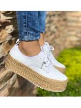 Lace Up Espadrille Woven Sole Platform Shoes