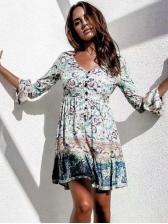 V Neck Floral Long Sleeve Short Dress