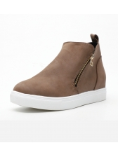 Solid Zipper Up Suede Shoes For Women