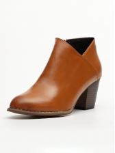 V Split Thick High Heel Boots For Women