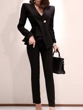 Ol Style V Neck Flounce Hem Black Suit For Women