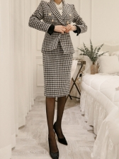 Ol Style Houndstooth Slim Two Piece Skirt Set