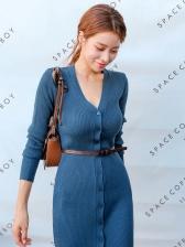 Solid Simple Button Down Split Midi Dress