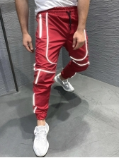 Sporty Solid Straight Reflective Mens Pants