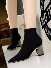 Metal Chunky Heel Sock Black Boots