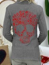 Skull Printed Women Cardigan Coat