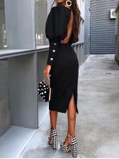 Backless Lantern Sleeve Black Long Sleeve Dress