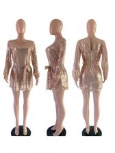 Crew Neck Tie-Wrap Long Sleeve Sequin Dress