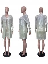 Sexy Deep V Neck Sequin Two Piece Dress