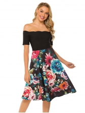Boat Neck Floral Fitted Short Sleeve Dress