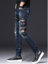 Letter Printed Embroidery Mens Jeans