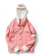 Preppy Style Button Down Patch Denim Jacket